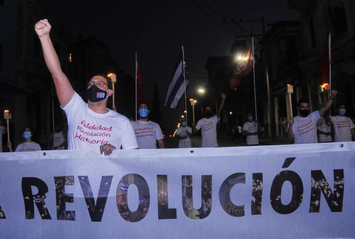 Marcha de las antorchas el 27 de enero de 2021 desde la universidad de La Habana hasta Infanta y 25.