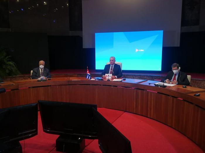 El Primer Secretario del Partido Comunista y Presidente de la República, Miguel Díaz-Canel Bermúdez, participó en la mañana de este viernes en el Consejo Supremo Económico Euroasiático