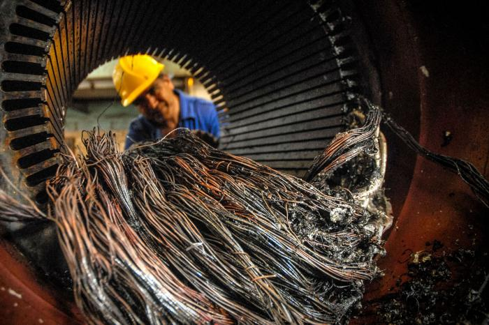 Talleres de la Empresa Mecánica del Níquel Comandante Gustavo Machín Hoed de Beche, en el municipio de Moa, provincia de Holguín, Cuba. FOTO/Juan Pablo CARRERAS