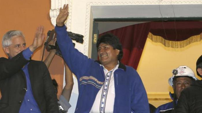Le président Evo Morales a fêté sa victoire avec le peuple sur la Place Murillo de La Paz.