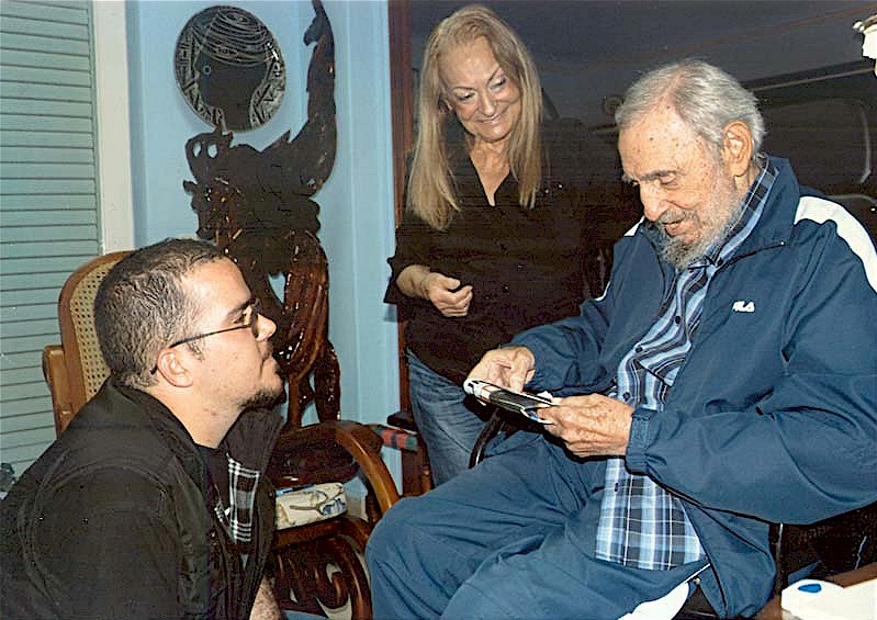 Fidel Castro y Randy Perdomo presidente de la FEU